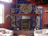 """Unique"" Tile, Stone & Brick Fireplace"