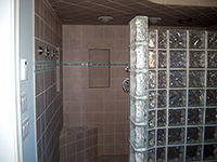 Shower with Glass Blocks and Porcelain Tile