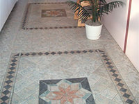 Ceramic Tiled Floor with Mosaic Design