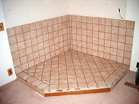 Ceramic Tiled Fireplace Hearth (shown w/o trim)