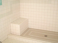 Ceramic Tiled Decorative Pattern on Shower Floor